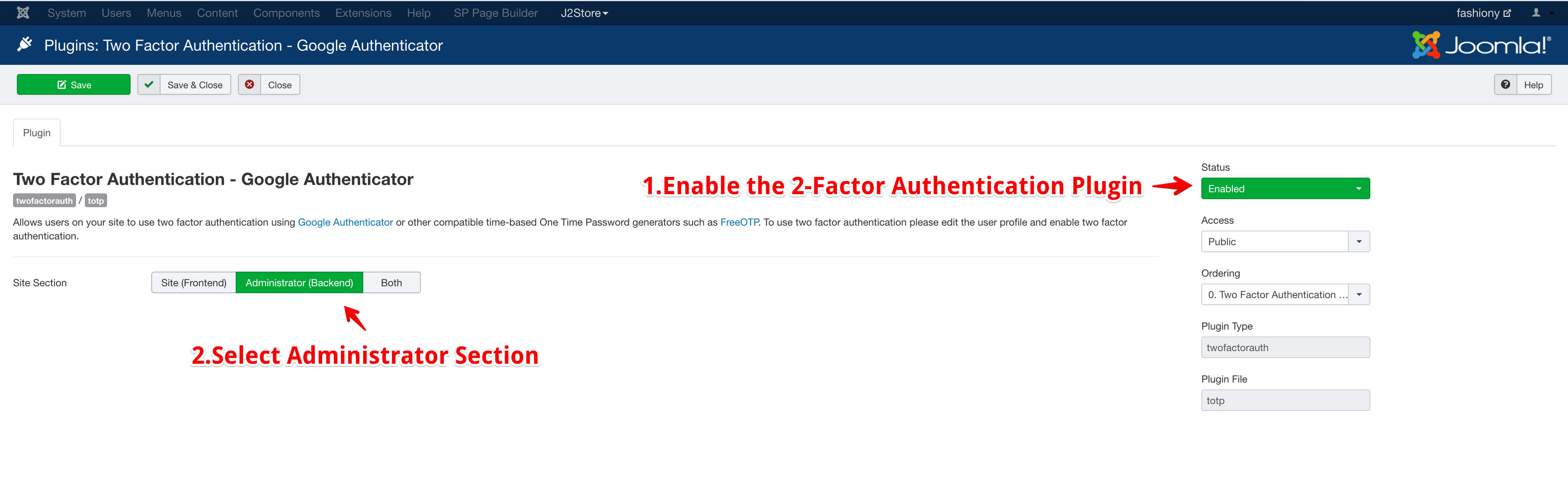 Joomla two factor authentication plugin