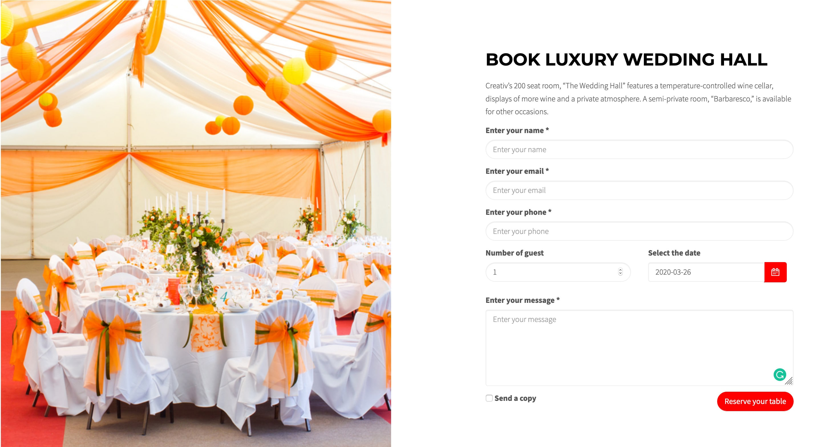 creativ wedding hall booking min