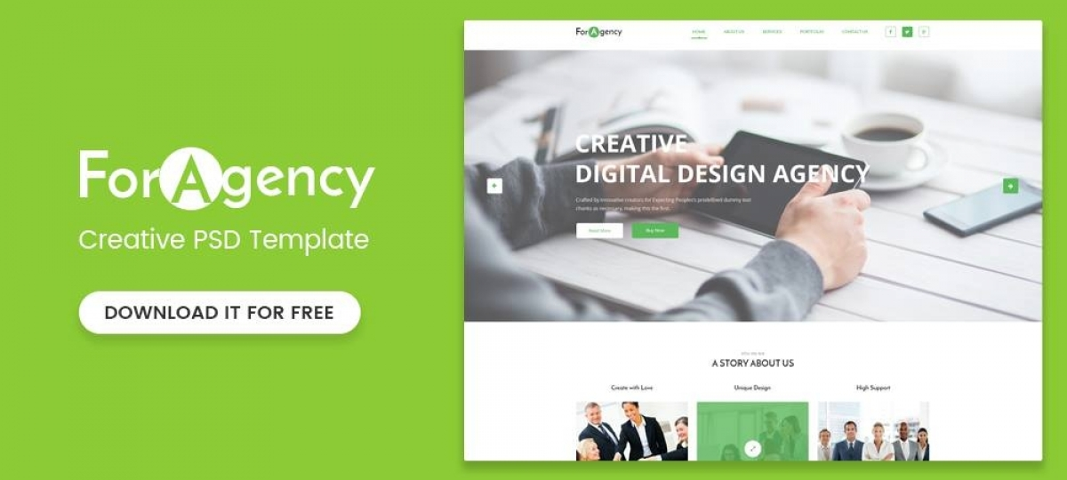 ForAgency - Free PSD template for Portfolio websites