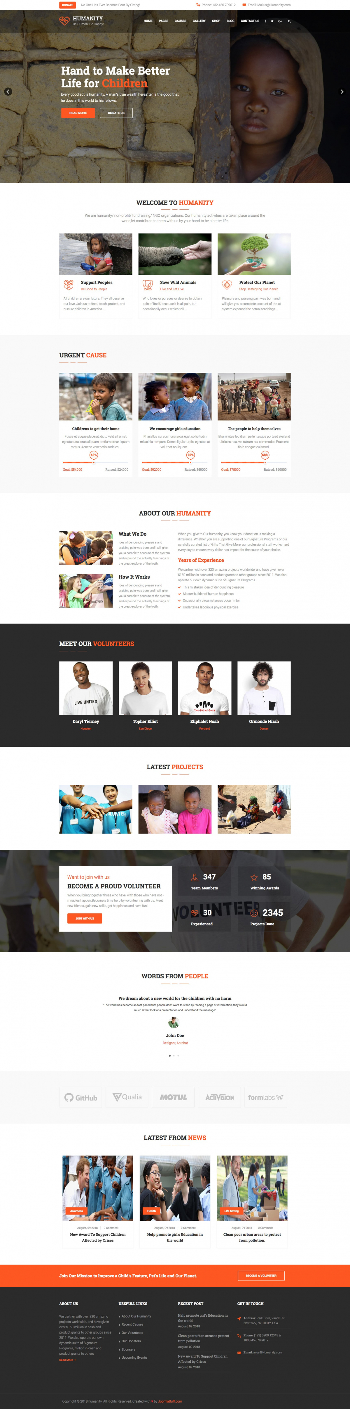 Humanity - Joomla Template for Nonprofit, Charity, NGO Fundraising