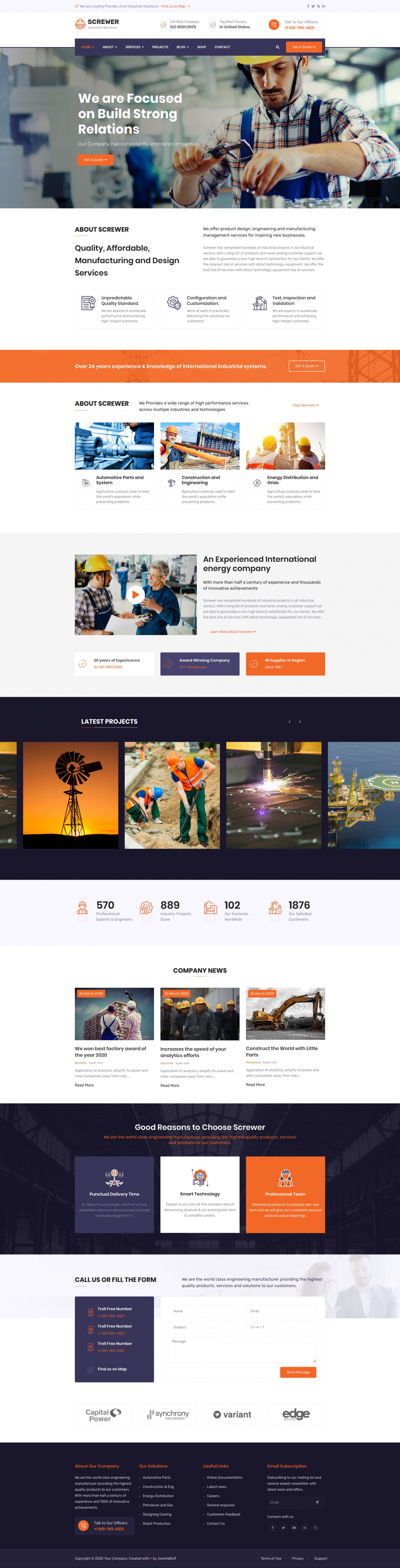 Screwer - Factory and Industrial Business Joomla Template