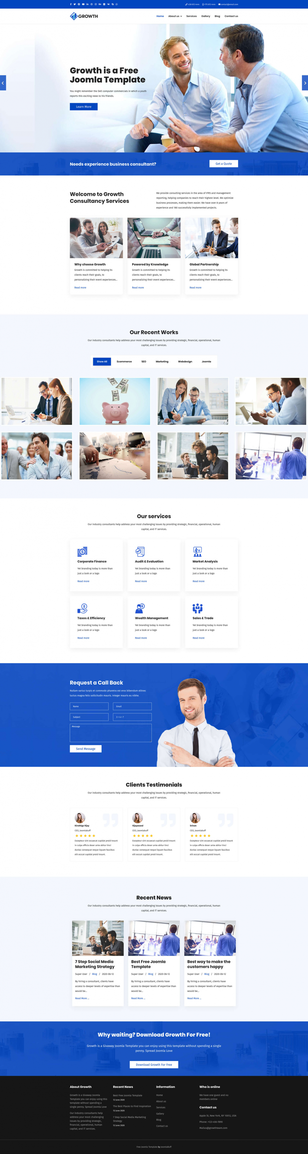 Growth - Free Responsive Business Joomla Template