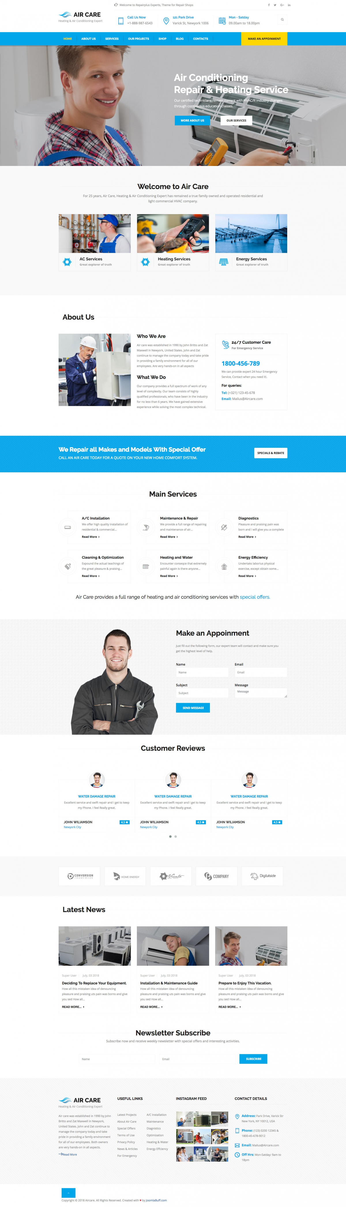 AirCare - Joomla Template for Air Conditioning Maintenance Services