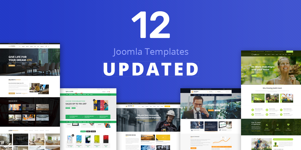 12 Joomla templates updated with latest components and improvements