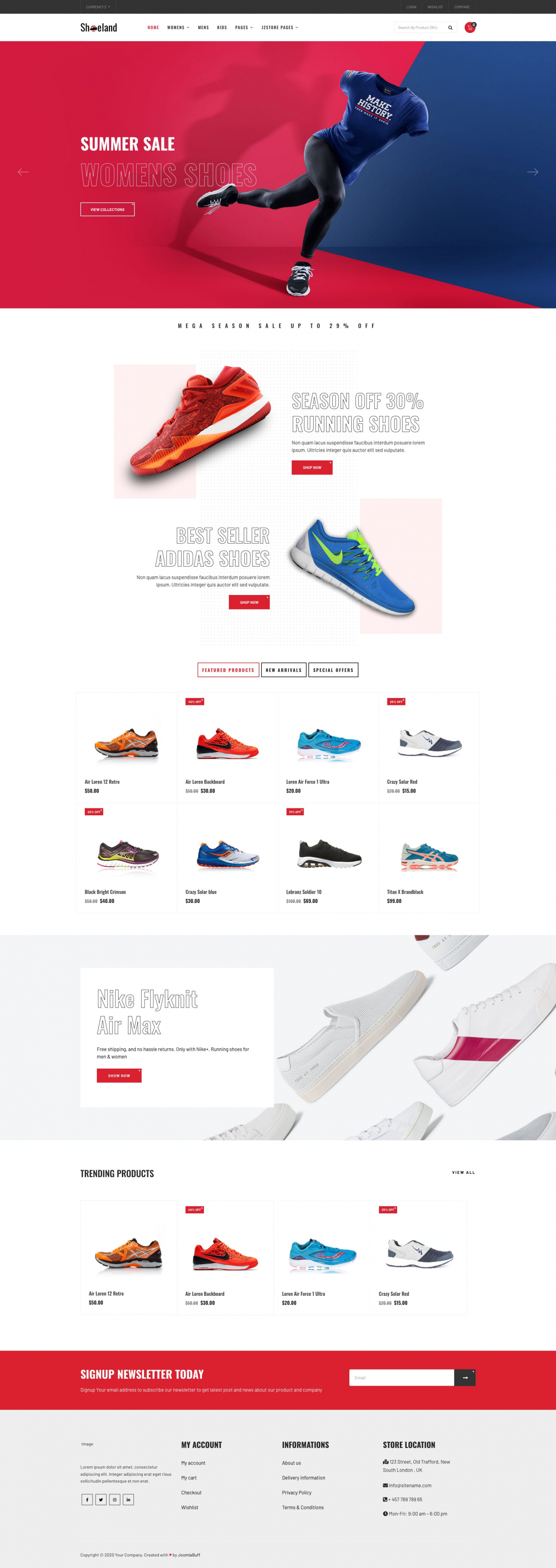 Shoeland - Footwear J2Store eCommerce Joomla Theme